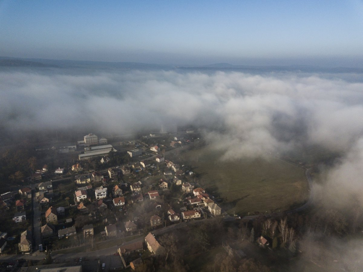 Clouds and houses drone photography