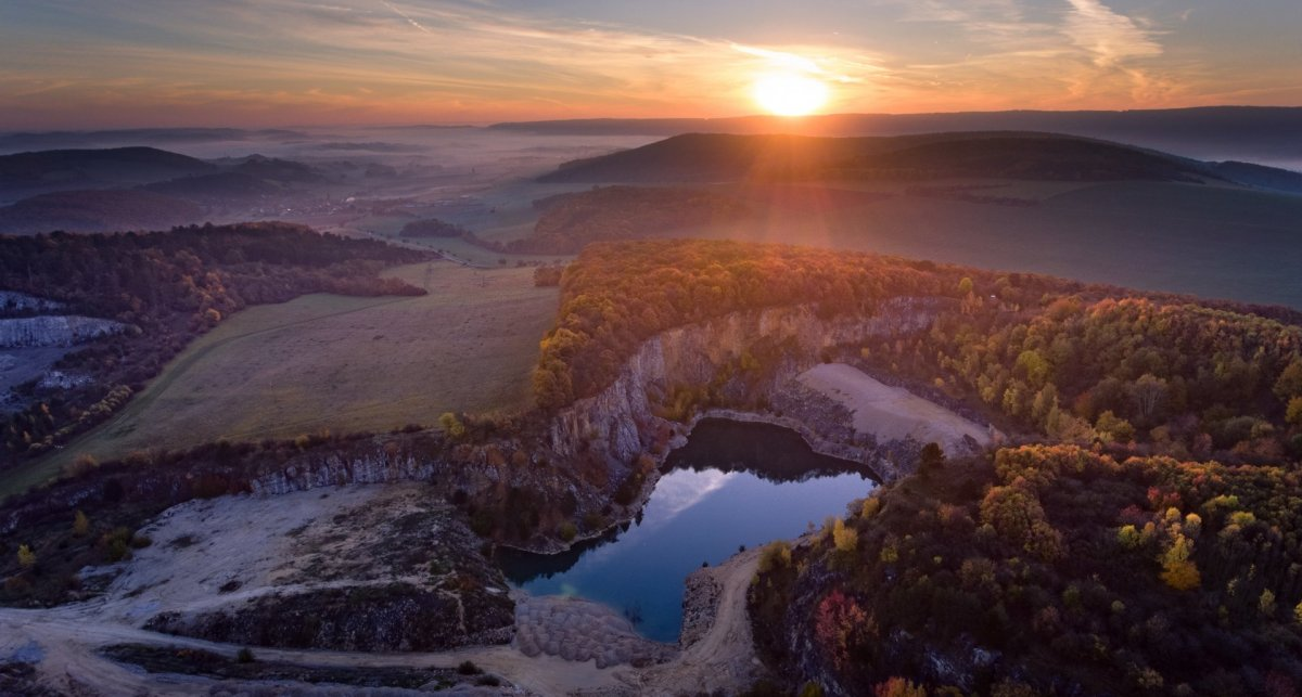 Sunset and quarry drone photography