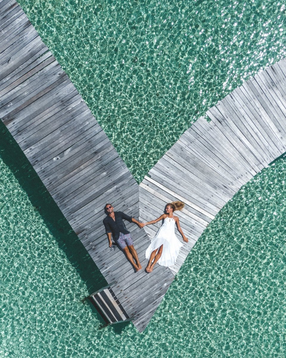 Couple and sea drone photography