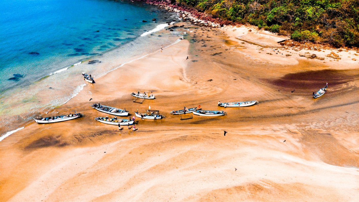 Fishermen on the beach drone photography