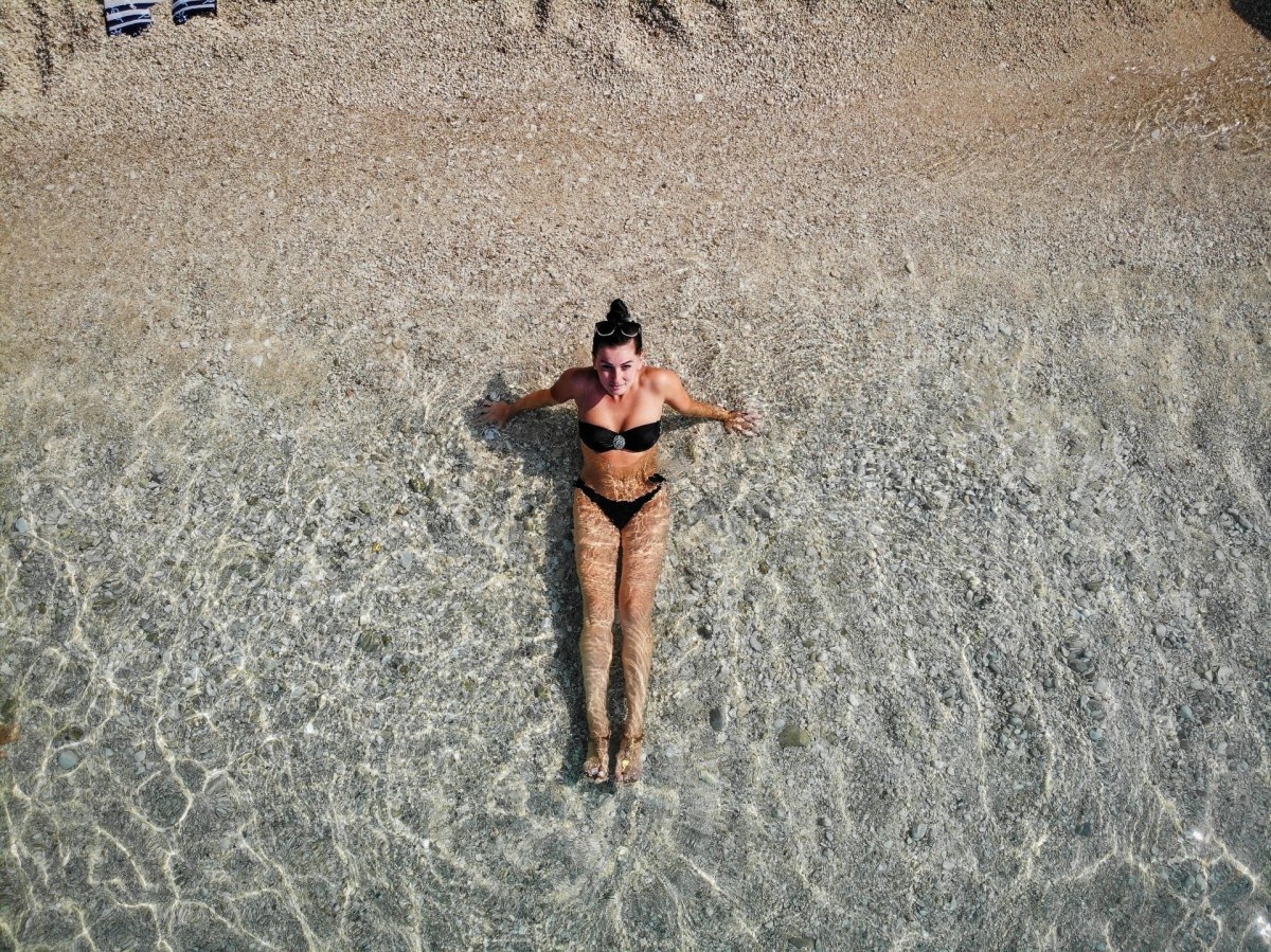 Girl and beach drone photography