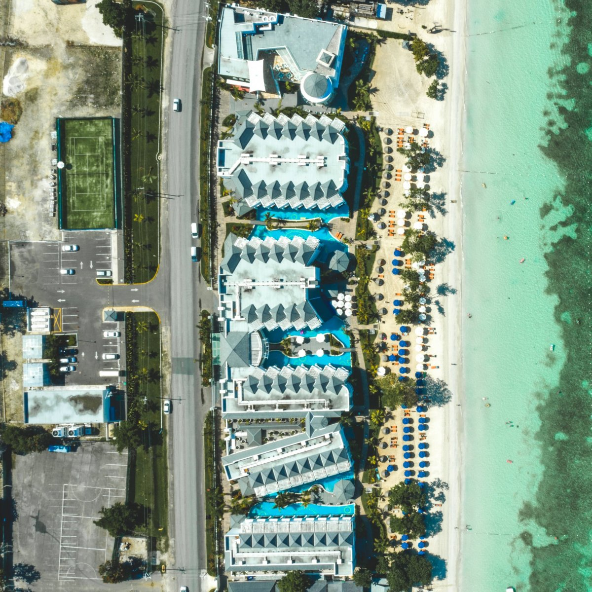 Hotels on the beach from drone