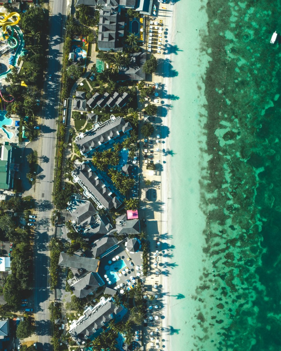 Hotels on the beach drone photography