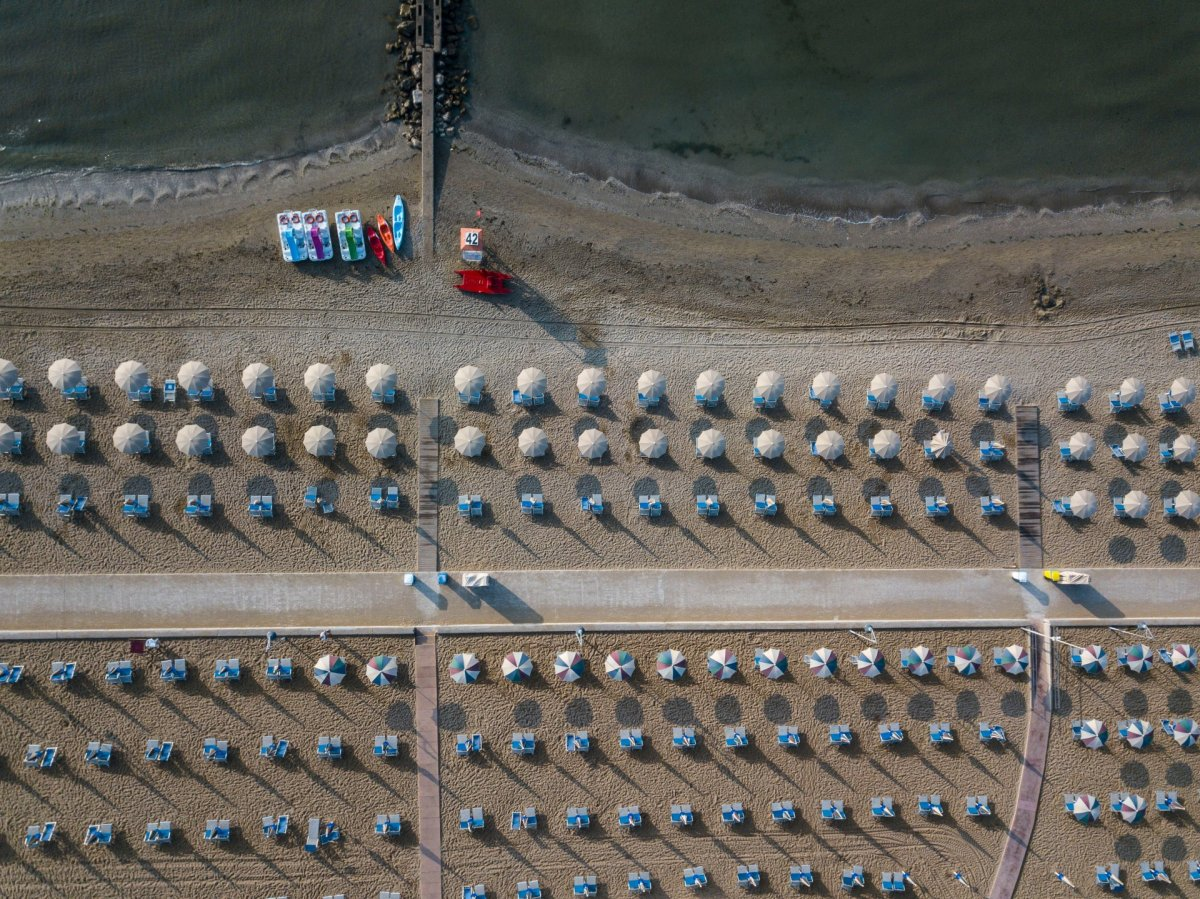 Sunbeds on the beach drone photography