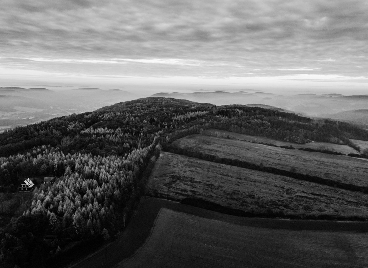Black and white drone photography