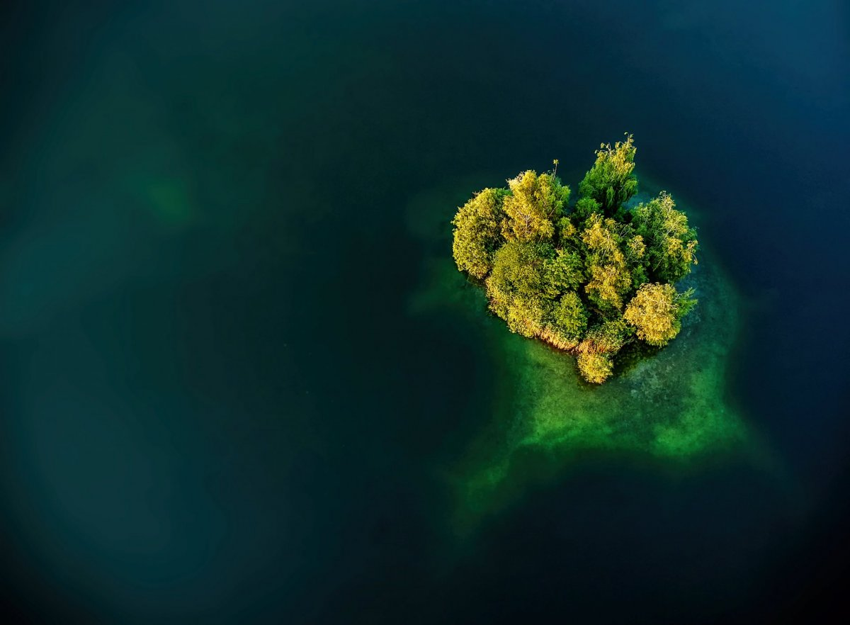 Small island and water drone photography