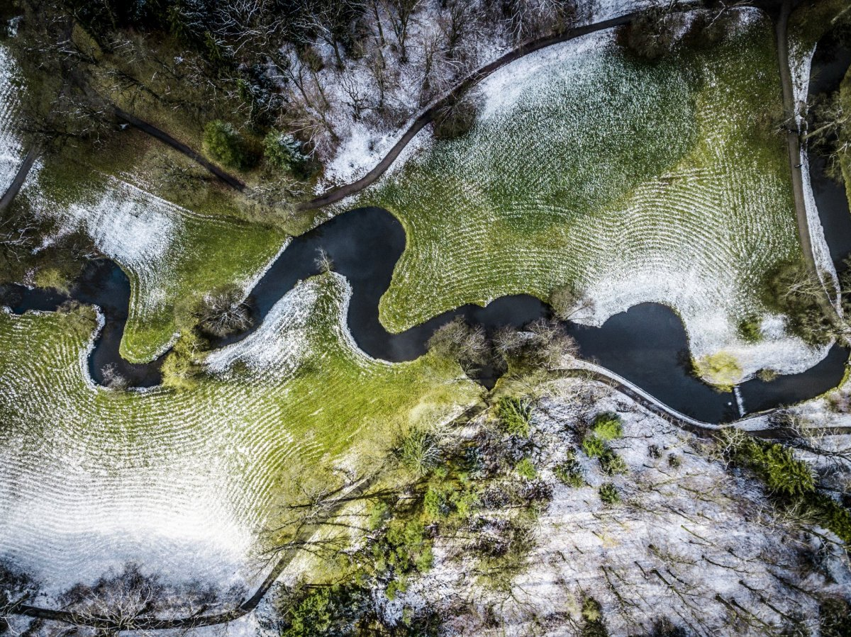River and snow drone photography