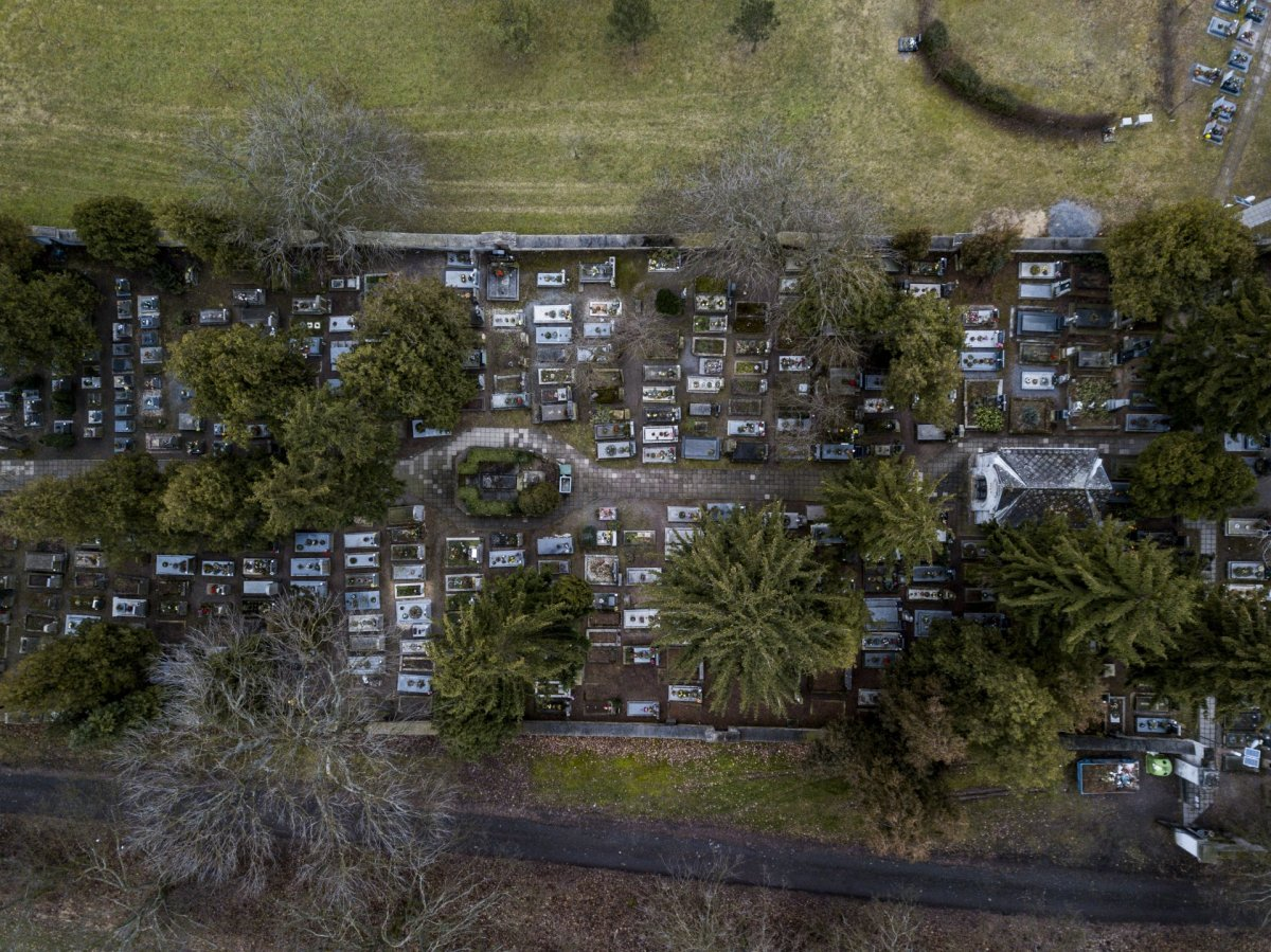 Cemetery from above drone photography