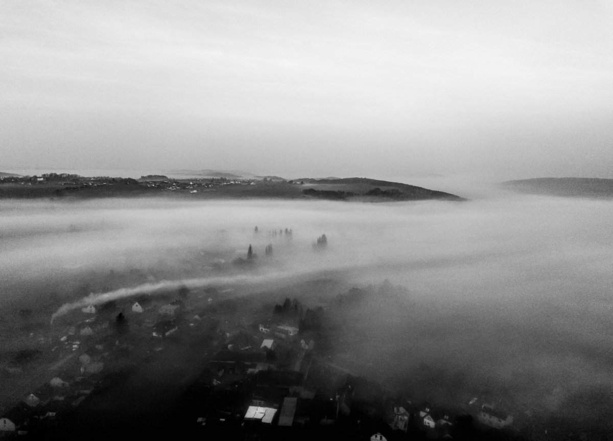 Black and white with clouds drone photography