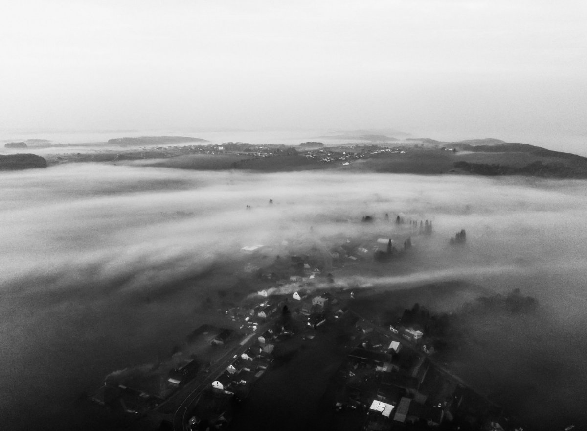 Black and white with clouds from drone