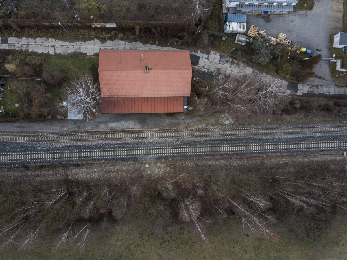 Train station drone photography