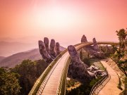 Vietnam bridge and sunset from drone