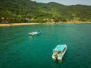 Vietnam sea and boats from drone